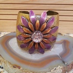 Vintage Copper w purple flower cuff bracelet GUC